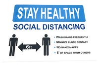 "Social Distancing Wall Sign - Large Plastic Sign 12"" x 18"""