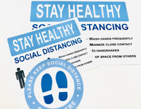 Social Distancing Floor Decal & Signs 3-Piece Kit