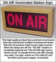 ON AIR Illuminated Amateur Radio Station Sign (Lights when the Transmitter or Transceiver is keyed)