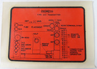 Collins 32V Transmitter Decal for Under the top Cover
