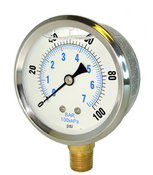 "2-1/2"" LIQUID FILLED PSI GAUGE 0-100"