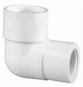 """1-1/4"""" x 1"""" PVC Reducing 90° Ell Slip x FPT Sch 40 (PF 407-168)"""