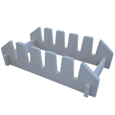 """This Five Slot Counter or Floor Cradle Display is an overstock item with a neutral fog grey finish. The simple slip fit design will hold ceramic tiles, sample boards, or other stone or quartz samples up to 1/2"""" thick in a small footprint."""