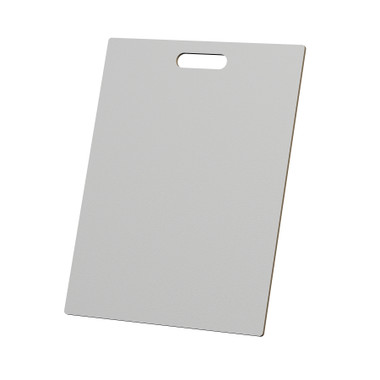 """McColl Display Solutions' stock white 16"""" x 21"""" tile sample boards are in stock and ready to ship. Popular and durable white vinyl substrate has a slight texture to allow for more effective adhesion of samples. Boxed in cartons of twenty for those who need quick and easy sample boards for immediate shipment. Durable Sturdy 1/4"""" MDF with smart-looking rounded corners and a comfortable 4"""" wide by 1"""" high handle at top center."""