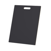 "McColl Display Solutions' stock black 16"" x 21"" tile sample boards are in stock and ready to ship. Popular and durable black vinyl substrate has a slight texture to allow for more effective adhesion of samples. Boxed in cartons of twenty for those who need quick and easy sample boards for immediate shipment. Durable Sturdy 1/4"" MDF with smart-looking rounded corners and a comfortable 4"" wide by 1"" high handle at top center."