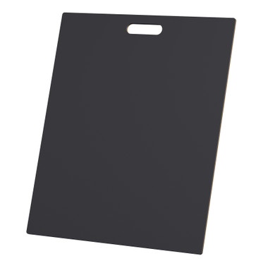 """McColl Display Solutions' stock black 20"""" x 24"""" tile sample boards are in stock and ready to ship. Popular and durable black vinyl substrate has a slight texture to allow for more effective adhesion of samples. Boxed in cartons of twenty for those who need quick and easy sample boards for immediate shipment. Durable Sturdy 1/4"""" MDF with smart-looking rounded corners and a comfortable 4"""" wide by 1"""" high handle at top center."""