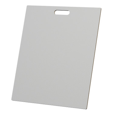 "McColl Display Solutions' stock white 20"" x 24"" tile sample boards are in stock and ready to ship. Popular and durable white vinyl substrate has a slight texture to allow for more effective adhesion of samples. Boxed in cartons of twenty for those who need quick and easy sample boards for immediate shipment. Durable Sturdy 1/4"" MDF with smart-looking rounded corners and a comfortable 4"" wide by 1"" high handle at top center."