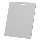 """McColl Display Solutions' stock white 20"""" x 24"""" tile sample boards are in stock and ready to ship. Popular and durable white vinyl substrate has a slight texture to allow for more effective adhesion of samples. Boxed in cartons of twenty for those who need quick and easy sample boards for immediate shipment. Durable Sturdy 1/4"""" MDF with smart-looking rounded corners and a comfortable 4"""" wide by 1"""" high handle at top center."""