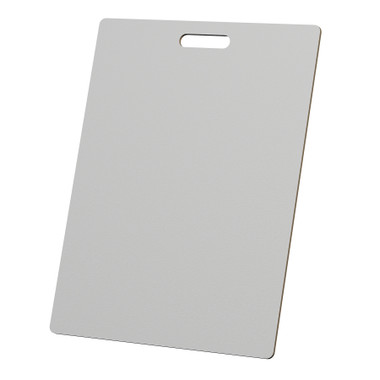 """McColl Display Solutions' stock white 18"""" x 24"""" tile sample boards are in stock and ready to ship. Popular and durable white vinyl substrate has a slight texture to allow for more effective adhesion of samples. Boxed in cartons of twenty for those who need quick and easy sample boards for immediate shipment. Durable Sturdy 1/4"""" MDF with smart-looking rounded corners and a comfortable 4"""" wide by 1"""" high handle at top center."""