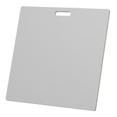 """McColl Display Solutions' stock white 23.5"""" x 23.5"""" tile sample boards are in stock and ready to ship. Popular and durable white vinyl substrate has a slight texture to allow for more effective adhesion of samples. Boxed in cartons of twenty for those who need quick and easy sample boards for immediate shipment. Durable Sturdy 1/4"""" MDF with smart-looking rounded corners and a comfortable 4"""" wide by 1"""" high handle at top center."""