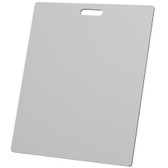 """McColl Display Solutions' stock white 22"""" x 26"""" tile sample boards are in stock and ready to ship. Popular and durable white vinyl substrate has a slight texture to allow for more effective adhesion of samples. Boxed in cartons of twenty for those who need quick and easy sample boards for immediate shipment. Durable Sturdy 1/4"""" MDF with smart-looking rounded corners and a comfortable 4"""" wide by 1"""" high handle at top center."""