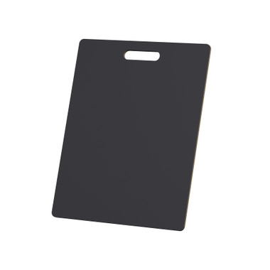 """McColl Display Solutions' stock black 15"""" x 19"""" tile sample boards are in stock and ready to ship. Popular and durable black vinyl substrate has a slight texture to allow for more effective adhesion of samples. Boxed in cartons of twenty for those who need quick and easy sample boards for immediate shipment. Durable Sturdy 1/4"""" MDF with smart-looking rounded corners and a comfortable 4"""" wide by 1"""" high handle at top center."""