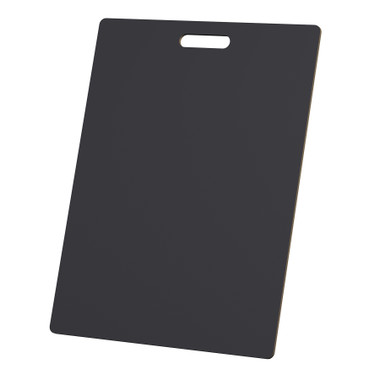 "McColl Display Solutions' stock black 18"" x 24"" tile sample boards are in stock and ready to ship. Popular and durable black vinyl substrate has a slight texture to allow for more effective adhesion of samples. Boxed in cartons of twenty for those who need quick and easy sample boards for immediate shipment. Durable Sturdy 1/4"" MDF with smart-looking rounded corners and a comfortable 4"" wide by 1"" high handle at top center."