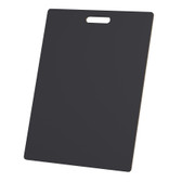 """McColl Display Solutions' stock black 18"""" x 24"""" tile sample boards are in stock and ready to ship. Popular and durable black vinyl substrate has a slight texture to allow for more effective adhesion of samples. Boxed in cartons of twenty for those who need quick and easy sample boards for immediate shipment. Durable Sturdy 1/4"""" MDF with smart-looking rounded corners and a comfortable 4"""" wide by 1"""" high handle at top center."""