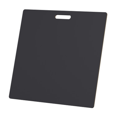 """McColl Display Solutions' stock black 22"""" x 22"""" tile sample boards are in stock and ready to ship. Popular and durable black vinyl substrate has a slight texture to allow for more effective adhesion of samples. Boxed in cartons of twenty for those who need quick and easy sample boards for immediate shipment. Durable Sturdy 1/4"""" MDF with smart-looking rounded corners and a comfortable 4"""" wide by 1"""" high handle at top center."""