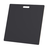 "McColl Display Solutions' stock black 22"" x 22"" tile sample boards are in stock and ready to ship. Popular and durable black vinyl substrate has a slight texture to allow for more effective adhesion of samples. Boxed in cartons of twenty for those who need quick and easy sample boards for immediate shipment. Durable Sturdy 1/4"" MDF with smart-looking rounded corners and a comfortable 4"" wide by 1"" high handle at top center."