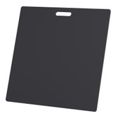 "McColl Display Solutions' stock black 23.5"" x 23.5"" tile sample boards are in stock and ready to ship. Popular and durable black vinyl substrate has a slight texture to allow for more effective adhesion of samples. Boxed in cartons of twenty for those who need quick and easy sample boards for immediate shipment. Durable Sturdy 1/4"" MDF with smart-looking rounded corners and a comfortable 4"" wide by 1"" high handle at top center."