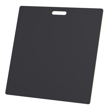 """McColl Display Solutions' stock black 23.5"""" x 23.5"""" tile sample boards are in stock and ready to ship. Popular and durable black vinyl substrate has a slight texture to allow for more effective adhesion of samples. Boxed in cartons of twenty for those who need quick and easy sample boards for immediate shipment. Durable Sturdy 1/4"""" MDF with smart-looking rounded corners and a comfortable 4"""" wide by 1"""" high handle at top center."""