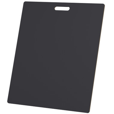 """McColl Display Solutions' stock black 22"""" x 26"""" tile sample boards are in stock and ready to ship. Popular and durable black vinyl substrate has a slight texture to allow for more effective adhesion of samples. Boxed in cartons of twenty for those who need quick and easy sample boards for immediate shipment. Durable Sturdy 1/4"""" MDF with smart-looking rounded corners and a comfortable 4"""" wide by 1"""" high handle at top center."""