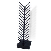 """The McReady Rack Tile Display holds loose flooring samples up to 1/2"""" thick and has a black powder coated steel spine and channels - with black melamine base."""