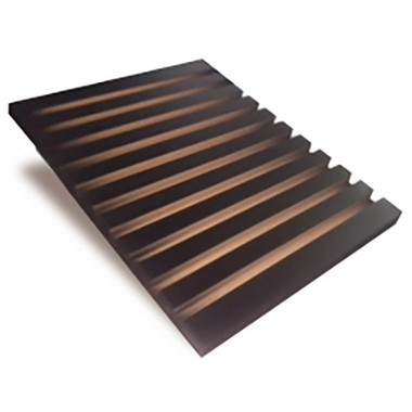 The Wedge tile display can hold multiple samples. Ten slots open at the sides to allow for a variety of sample width displays per slot. Solid wood construction, black finish. Great flooring showroom display.