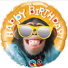 Birthday Smiling Chimp/Monkey 18 Inch Foil Balloon