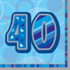 40th Birthday Blue Glitz Napkins