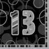 13th Birthday Black Glitz Napkins