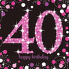 40th Birthday Pink Sparkles Napkins