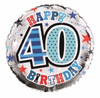 40th Birthday Male 18 Inch Foil Balloon