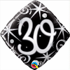 30th Birthday Elegant Sparkles & Swirls 18 Inch Foil Balloon