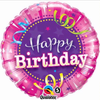 Happy Birthday Shining Star Hot Pink 18 Inch Foil Balloon