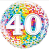 40th Birthday Rainbow Confetti 18 Inch Foil Balloon