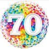 70th Birthday Rainbow Confetti 18 Inch Foil Balloon