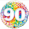 90th Birthday Rainbow Confetti 18 Inch Foil Balloon