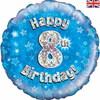 8th Birthday Holographic Blue 18 Inch Foil Balloon