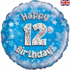12th Birthday Holographic Blue 18 Inch Foil Balloon