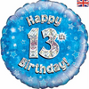 13th Birthday Holographic Blue 18 Inch Foil Balloon