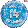 14th Birthday Holographic Blue 18 Inch Foil Balloon