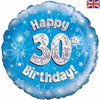30th Birthday Holographic Blue 18 Inch Foil Balloon