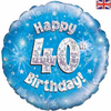 40th Birthday Holographic Blue 18 Inch Foil Balloon