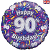 90th Birthday Holographic Streamers 18 Inch Foil Balloon