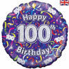 100th Birthday Holographic Streamers 18 Inch Foil Balloon