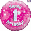 1st Birthday Holographic Pink 18 Inch Foil Balloon
