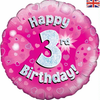 3rd Birthday Holographic Pink 18 Inch Foil Balloon