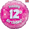 12th Birthday Holographic Pink 18 Inch Foil Balloon