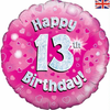13th Birthday Holographic Pink 18 Inch Foil Balloon