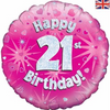 21st Birthday Holographic Pink 18 Inch Foil Balloon