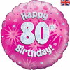 80th Birthday Holographic Pink 18 Inch Foil Balloon