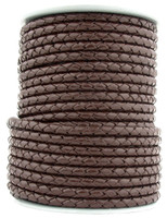 Dark Brown Round Bolo Braided Leather Cord 4 mm 1 Yard